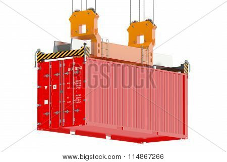 Container Crane And Red Cargo Container