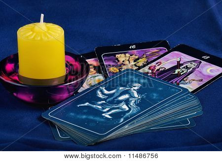 Tarot Card And Candle