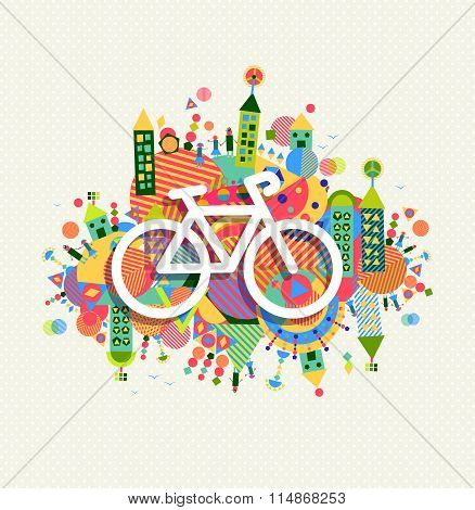 Green Environment Bike Icon Vibrant Colors Poster