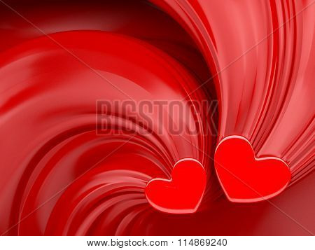 Red Hearts Over Red Silk Valentines Day Background.