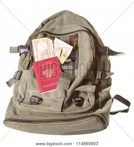 The Backpack Of Color Khaki, On It Lies The Russian Passport And The Ukrainian Money (hryvnias)
