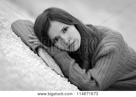 Black-and-white photo. Close-up portrait of nice, depressed, beautiful, pretty, caucasian, fashionable, glamorous, young, troubled, thinking, neglected, pensive, painful girl, woman, anguish, problems, tears, crying