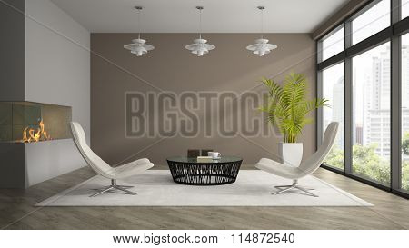 Interior of modern  design room  with white armchairs 3D rendering
