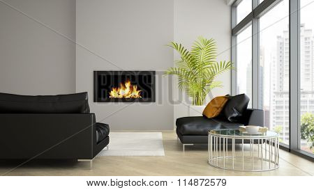 Interior of modern  loft with fireplace and black sofa 3D rendering