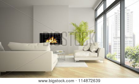 Interior of modern  loft with fireplace and palm 3D rendering