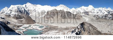 Beautiful Panoramic View Of Mount Cho Oyu And Everest