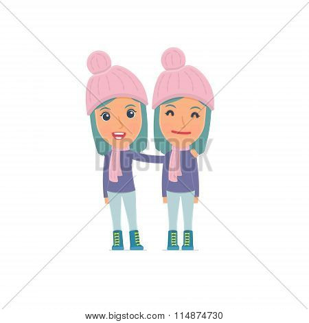 Joyful Character Winter Girl And His Best Friend Standing Together