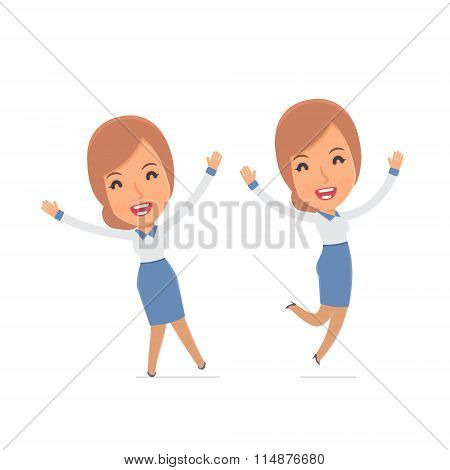 Laughing And Joyful Character Consultant Girl Celebrates And Jumps