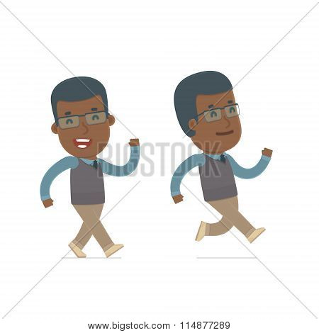 Happy And Cheerful Character African American Teacher Goes And Runs
