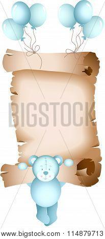 Baby boy teddy bear parchment