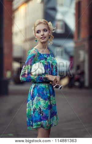 Beautiful stylish young woman on a street