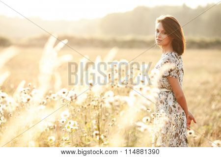 Sunny summer portrait of a beautiful young woman in a field