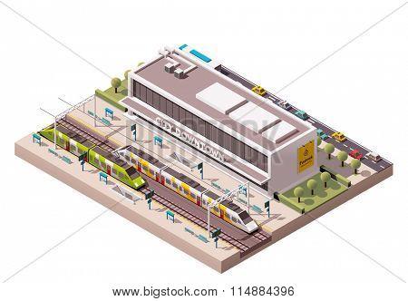 Isometric icon representing train station building