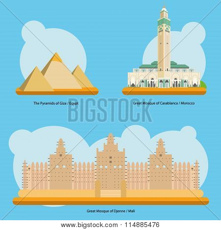 Vector illustration of Monuments and landmarks in Africa Vol. 1