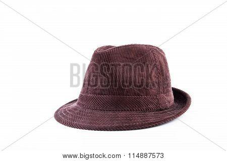brown velveteen hat