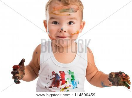 little boy  with painted face and hands