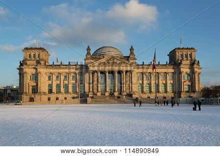 Facade View Of The Reichstag (bundestag) Building In Berlin, Germany