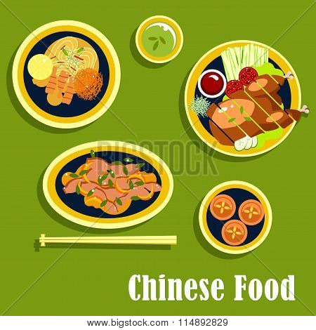 Traditional dinner of chinese cuisine, flat style