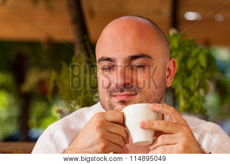 Man Enjoying His Morning Coffee
