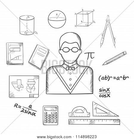 Mathematician or teacher sketch with objects