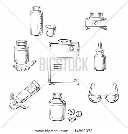 Prescription and medical sketch icons
