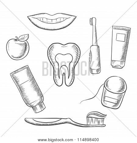 Dental hygiene medical icons in sketch style