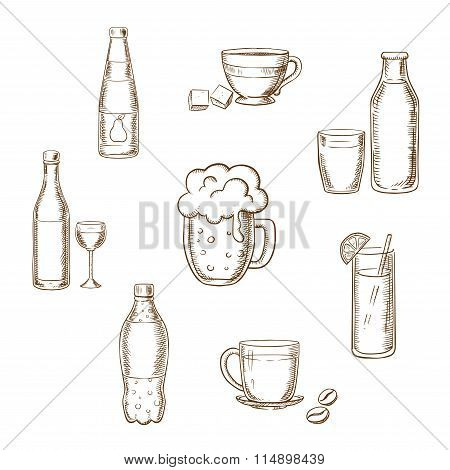 Drinks, alcohol and beverages flat icons
