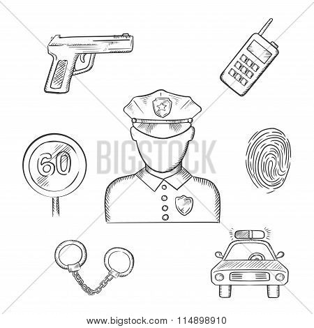 Policeman in uniform with sketched police icons