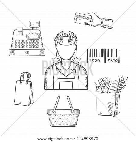 Seller profession and shopping sketched icons