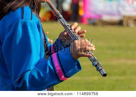 Flute Music Instrument Hands Close Up Orchestra Player Flutist With Musical Instruments