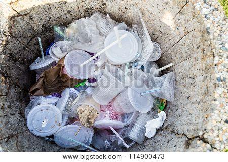 Environmental Unfriendly Non-biodegradable Pvc Containers And Straws In Rubbish Bin