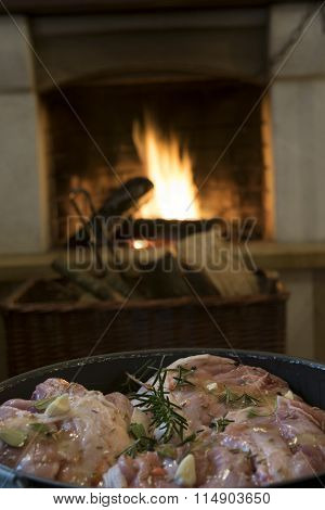 Piglet Haunch To Marinade With Vinegar Oil And Herbs