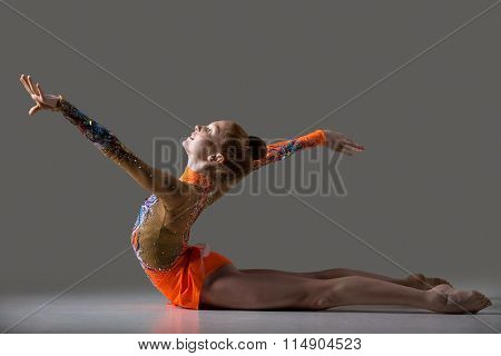Dancer Girl Doing Backbend Gymnastics Exercise