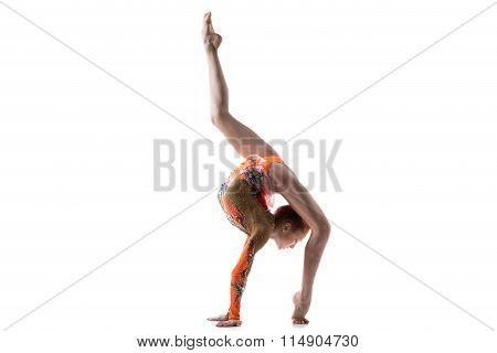 Teenage Dancer Girl Doing Back Walkover