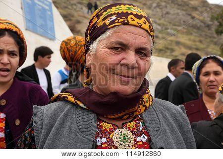Kov-ata, Turkmenistan - October 18: Portrait Of Unidentified  Asian Woman In A Headscarf. Kov-ata