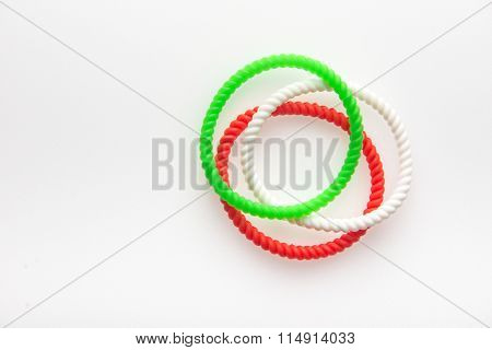 Fashionable wrist bands in Indian flag tricolors. Isolated image.