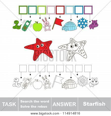Search the word. Find hidden word Starfish