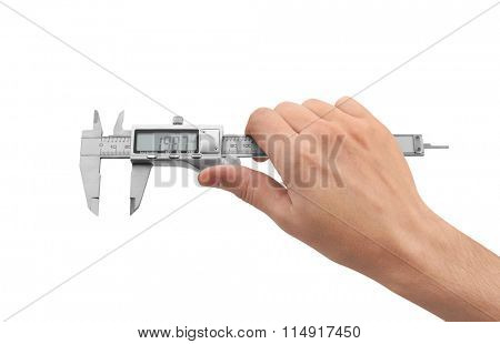 Dgital Electronic Vernier Caliper in Hand, isolated on white background