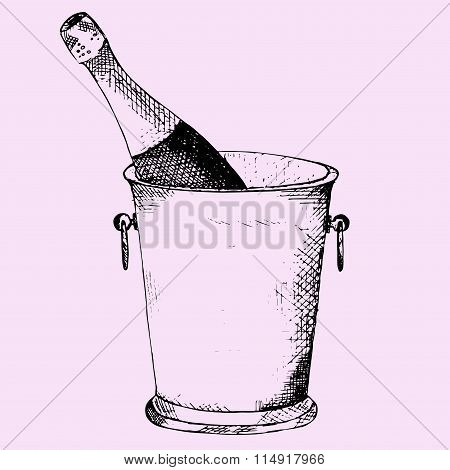 Champagne bottle in a ice bucket