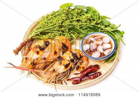 Exquisite thai dining; grilled river prawns served with neem