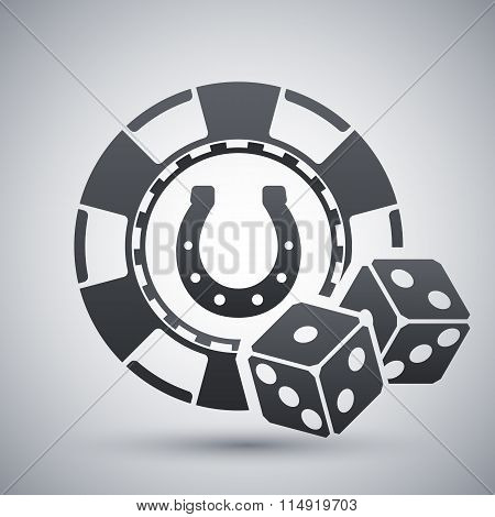 Casino Chips With Two Dices, Stock Vector