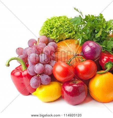 Ripe, Juicy, Healthy Fruits And Vegetables