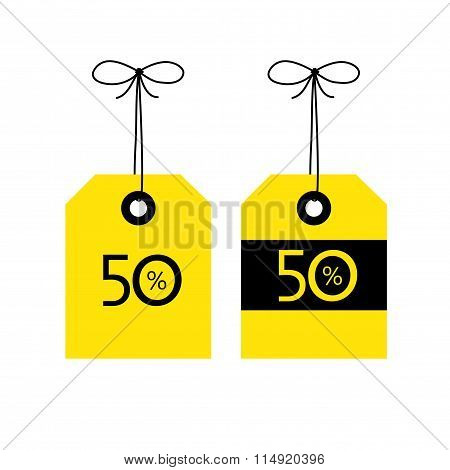 50 Off Tag Icon, Vector Illustration. Black And Yellow Color Co