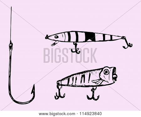 Set of fishing hooks
