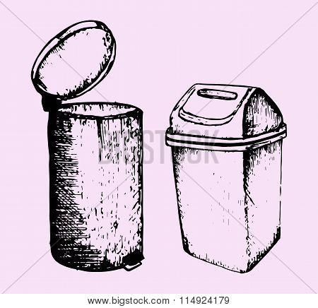 trash can, doodle style, sketch illustration, set poster