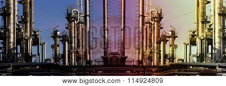 giant oil and gas industry at a colorful sunset time, panoramic view