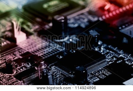 computers circuitboard in various shades of colors