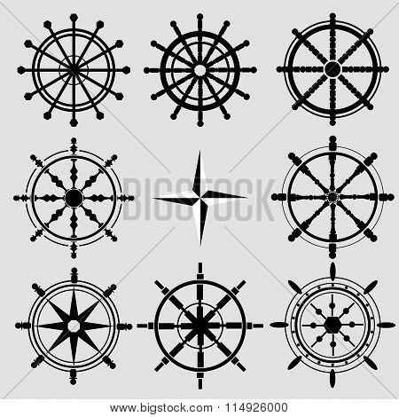Vector Rudder Black And White Flat Icons Set. Rudder Wheel Illustration. Boat Wheel Control Rudder V