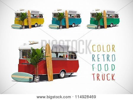 Set Of Colour Food Caravans, Isolated