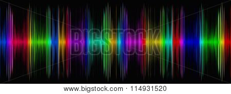 Abstract Multicolored Sound Equalizer On Black Display.